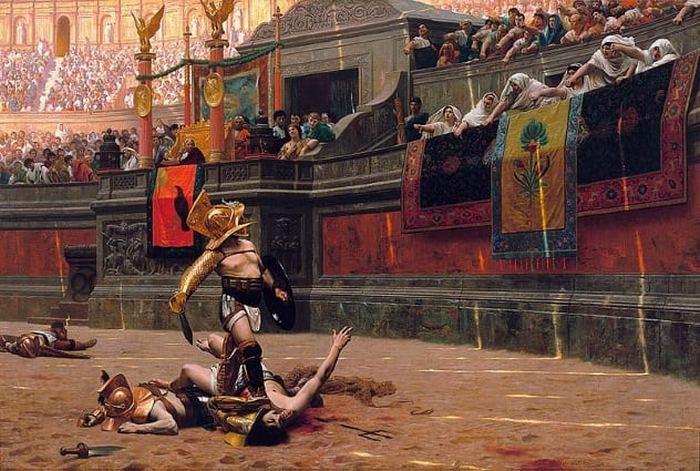 Гладиаторы на арене.